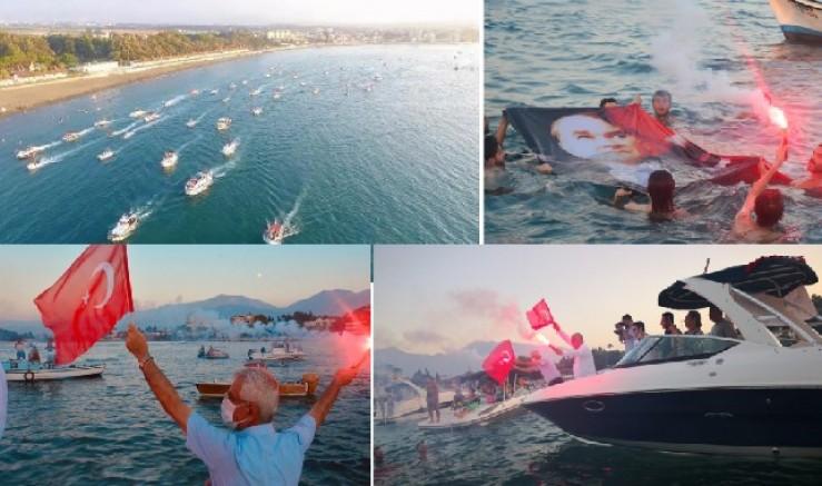 Büyük Zafer Arsuz'da denizde kutlandı